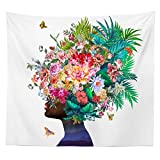 iLiveX Tapestry, Original Design Hand Drawing Art Print Tapestry Wall Hanging, African Girl White Flower Tapestries (51.2'x59.1')