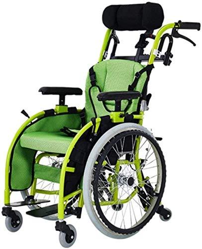 Silla de ruedas ligera para niños, scooter portátil pequeño y ligero plegable, silla de ruedas manual para niños de aleación de aluminio, dispositivo antivuelco de mesa con reposacabezas, sistema de f
