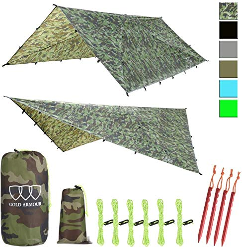 Gold Armour Rainfly Tarp Hammock, 14.7ft/12ft/10ft/8ft Rain Fly Cover, Waterproof Ultralight Ripstop Fabric, Survival Gear Backpacking Camping Tent Accessories (Camouflage, 10ft x 10ft)