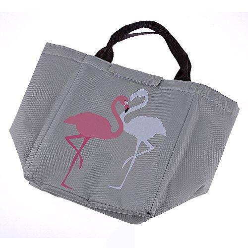 GOGOGO Flamingo Imperméable à l'eau Oxford isolé sac à lunch pique-nique Sac à Déjeuner Thermique Multi-usages pour Homme Femme Enfant - Gris