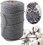 Hiegvor Makramee Garn 3 mmx200 m,naturliches Baumwolle Garn,Macrame Garn Perfekt für DIY Projekte geeignet,Wand Aufhängung, Pflanze Aufhänger Schnur Stricken(Grau)