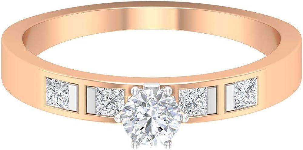 Rosec Fresno Mall Jewels- Two Tone Boston Mall Engagement Ring Diamond HI-SI So 0.53 CT