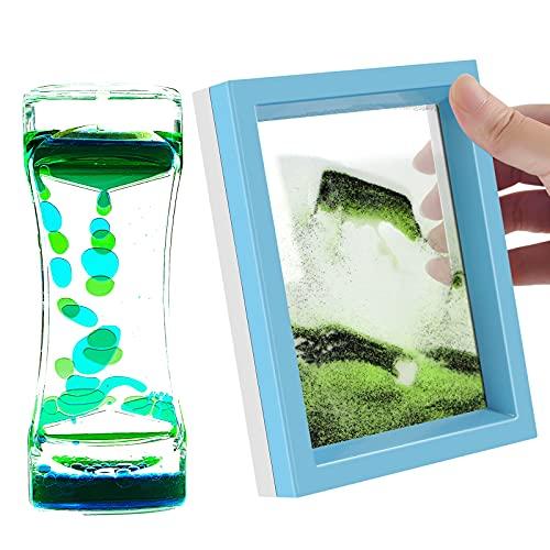 Sand Art Picture and Liquid Motion Bubbler Timer 2 Pack Colorful Hourglass Liquid Bubbler Art Toys...