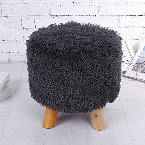 LYX® Massivholz Plüsch Holz Hocker ändern Schuh Bank abnehmbar waschbar Tuch gesetzt Hocker Kiefer Hocker 70 * 30CM weiß braun schwarz (Color : Black)