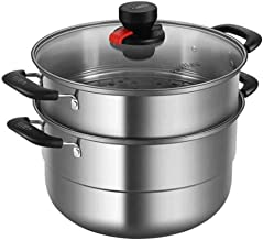 MSWL Steamer Stainless Steel 26/28/30CM Double-layer Composite Bottom Steamer Can Be Cooked, Suitable For Induction Cooker...
