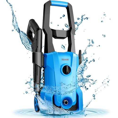 Power Washer, TEANDE Pressure Washer 3000PSI Electric High Pressure Washer 1600W Professional Car Washer Cleaner Machine with Hose Reel,4 Nozzles for Patio Garden Yard Vehicle(Blue)