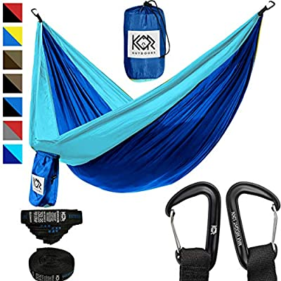 KOR Outdoors Hammock Camping with Straps (Dark Blue with Light Blue, Double)