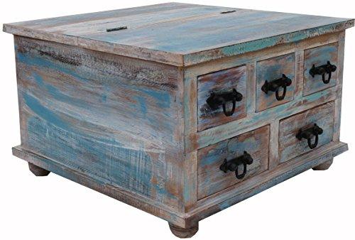 Guru-Shop Vierkante Ladekast of Salontafel - Model 9, Turquoise, 45x70x70 cm, Kleine Kasten
