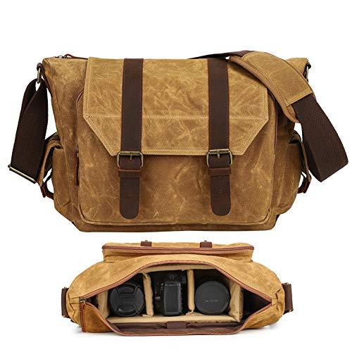 DRF Borsa Messenger in Tela Vintage + Custodia morbida per Fotocamera per Viaggio DSLR laptop 14.5  BG22 (Cachi-Pro)