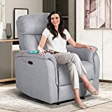 Power Electric Recliner Chair with USB Charge Port - Recliner Sofa Overstuffed Electric Recliner Chair Home Theater Seating Bedroom & Living Room Chair