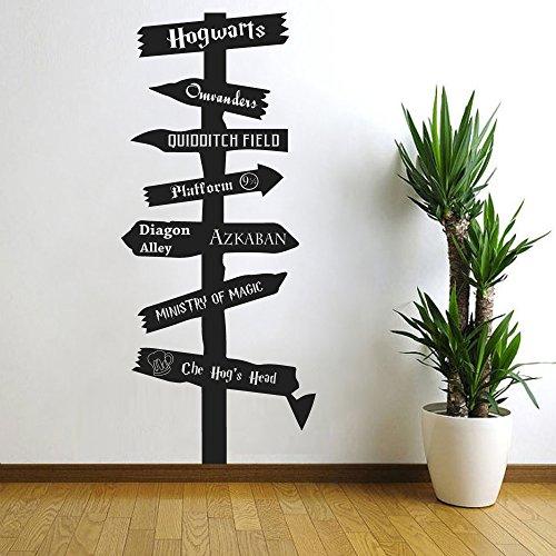 Wandaufkleber, inspiriert von Harry Potter, Straßenschild-Design, Vinyl, Hogwarts Ministry of Magic, Askaban, Ollivanders, Quiddich, Dumbledore, Schwarz, 55,9cm H x 24,1cm B)