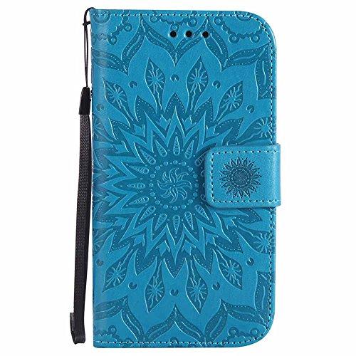 Dfly Galaxy S4 Hülle, Premium Slim PU Leder Mandala Blume prägung Muster Flip Hülle Bookstyle Stand Slot Schutzhülle Tasche Wallet Case für Samsung Galaxy S4 i9500, Blau