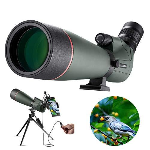 LAKWAR Telescopio Terrestre Profesional, Aumento de 20-60x, 80mm Lente Grande FMC, con Clip para Móvil + Disparador con Cable, Adecuado para Observación de Aves, Tiro Al Blanco y Acampar