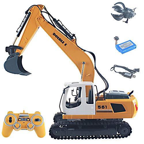 OUUED Truco de control remoto RC Excavadora Todos Metal Excavators Toy 17 Channel 3 en 1 Taladro de garra Pala Real Hidráulico CARGA grande Ingeniería eléctrica Aleación de automóviles Vehículo de con