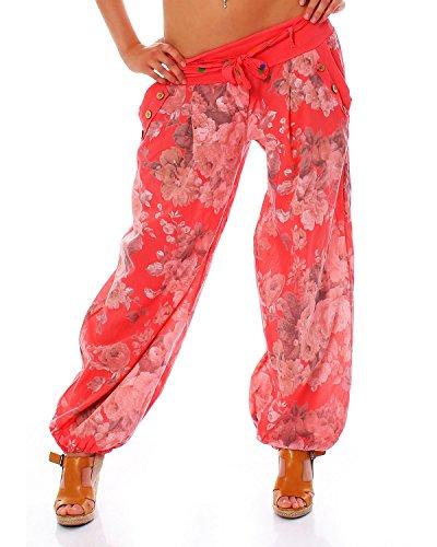Moda Italy Damen Haremshose Pumphose Ballonhose Pluderhose Yogahose Aladinhose Harem Sommerhose mit Stoffgürtel Flower-Print, One Size Gr.36-42, Lachs