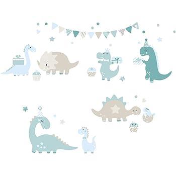 D/écoration murale aux couleurs petrol-taupe-bleu clair Autocollants pour chambre de b/éb/é avec dinosaures lovely label Stickers muraux chambres pour enfants lot de 42
