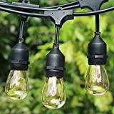 Outdoor Edison Lights Commercial Weatherproof - Patio Lights 48FT with 18 Bulbs 15 Sockets Outdoor String Lights for Backyard Garden Party Lighting