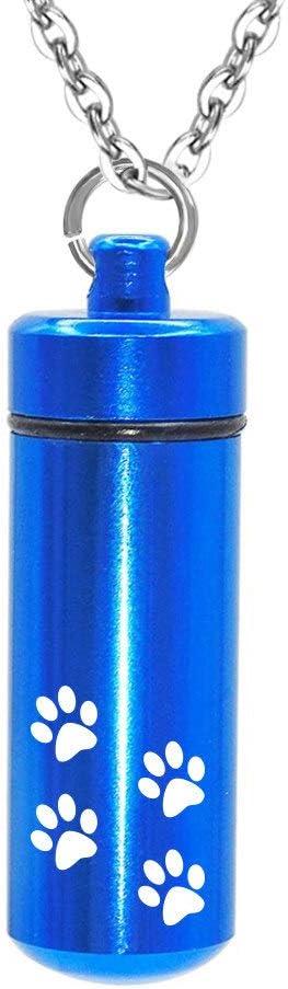 WSXEDC Collar de Cenizas, joyería de urna de cremación, Colgante de Cilindro Azul con Estampado de Pata Vintage, medallón conmemorativo para Mascotas o Muestra de Pelo