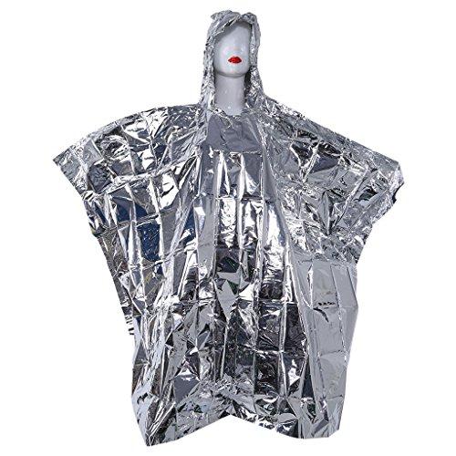 Tancyechy Multifunktionaler Folien-Poncho-Regenmantel Wasserdichter Survive Rescue Blanket Foil-Regenmantel für den Außenbereich