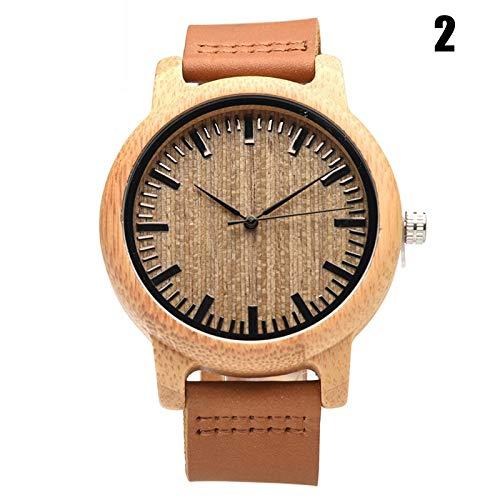 Henreal bamboe kwarts analoog horloge hout polshorloge met ronde wijzerplaat voor mannen vrouwen