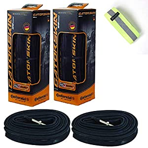 Bike A Mile Continental GatorSkin Bike Tires Set of 2 – with Continental Inner Tube Presta Valve Set of 2 – with a Reflective Safety Armband