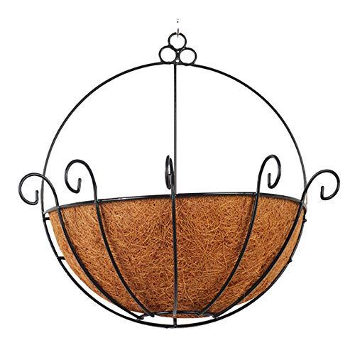 LANGM Portapiante Rotondo Semicerchio, Fioriera Sospesa In Metallo, Cesti Appesi per Piante con Fodera In Fibra Di Cocco E Aggancio, per Vasi Da Fiori Decorativi per Interni