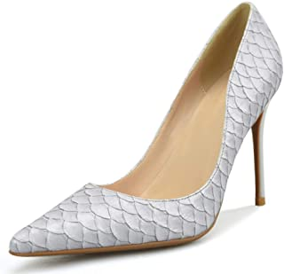 Zanpa Elegant Women Snake Pattern Pumps Stiletto Heels Office Dress Shoes Pointed Toe Cocktail Heels Evening Party Shoes Grey Size 34