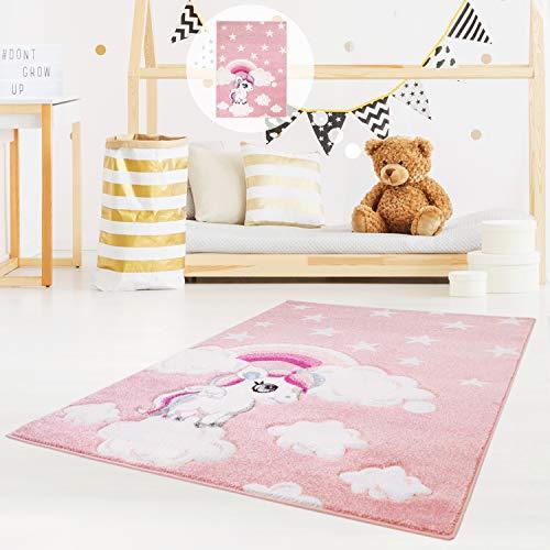 myshop24h–Alfombra para niños de Gran Calidad Bueno estrellas Nubes Arcoíris Unicornio habitación de los Niños Color Rosa, polipropileno, Rosa, 140 x 200 cm