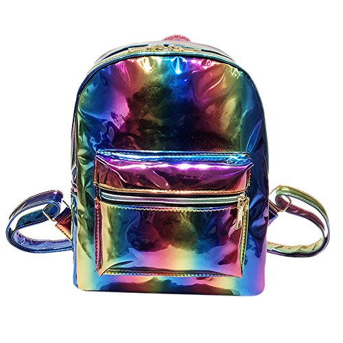 Magnetion Girl Rainbow Laser Leather Backpack, Women Fashion Zipper Travel Bag, Suitable For Leisure, Banquet, Travel, Women's 2-in-1 Convertible Tote Bag Backpack, A Best Gift For Girls