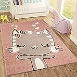 | Kinderteppich Happy Kitty | Tiere Katze | Kinderteppiche für Mädchen und Jungen | Teppich für Kinderzimmer | Farbe: Rosa & Grau |Schadstofffrei Kinderzimmerteppiche geprüft von Öko-Tex 120x170 cm