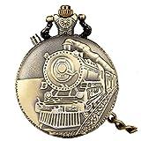 BBNBY Reloj de Bolsillo de Cuarzo con Flash LED noctilucente, Motor de Locomotora de Tren único, Cadena Luminosa, Reloj de Hora, Motor LED de Bronce