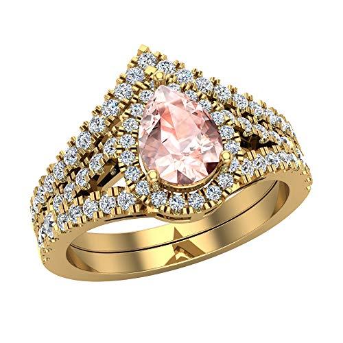 Glitz Design Mujer Niños Hombre Unisex oro 14 quilates (585) oro amarillo 14 quilates (585) pera Pink Morganite