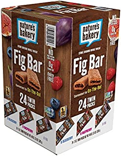 Nature's Bakery Whole Wheat Fig Bars, Variety Pack (8- Blueberry, 8- Original Fig, 8-Raspberry), 1- 24 Count Box of 2 oz T...