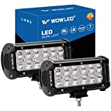 WOWLED 2 x 7 Inch 36W CREE LED Work Light Bar Spot Beam for Truck Car ATV UTE LED Lights for Offroad Driving...