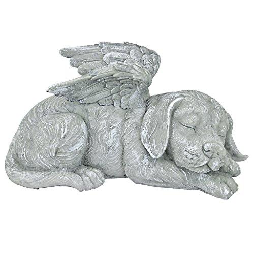 Design Toscano Dog Angel Pet Memorial Grave Marker Tribute Statue, 25.5 cm, Polyresin, Stone Finish