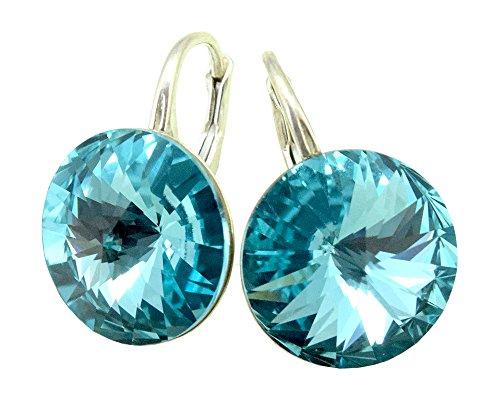 Crystals & Stones - Orecchini da donna in argento 925 con cristalli Swarovski Elements, 14 mm, colore: Turchese