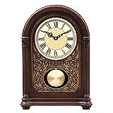ZJZ Relojes de sobremesa de Madera, Mesa, Escritorio, estantería, Relojes Que suenan a la Hora, Reloj mecánico clásico Antiguo con péndulo arqueado, silenciosos Relojes de pie