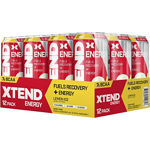 Scivation Xtend Energy BCAA 12 x 473ml Fuels Recovery Endurance Amino Acids Ready to Drink RTDs (Lemon Ice, 12 x 473ml)