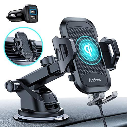andobil Handyhalterung Auto Induktion Qi 10W Wireless Charger Auto Handyhalterung mit Auto Ladegerät Lüftung & Saugnapf Fast Kabelloses Auto Ladegerät für iPhone 11 SE 2020 Samsung LG Usw. Qi Geräte.