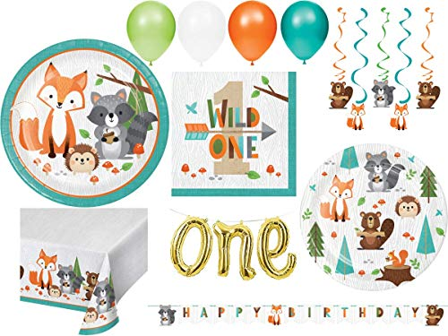 Creative Converting Woodland Animals Themed 1st Birthday Party Supplies for 24 People | Bundle Includes Plates Napkins Table Cover and Decorations | Wild One Woodland Animals Design (100 Pieces)