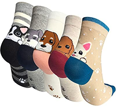 Chalier 5 Pairs Womens Cute Animal Socks Colorful Funny Casual Cotton Crew Socks, Style 05, One Size