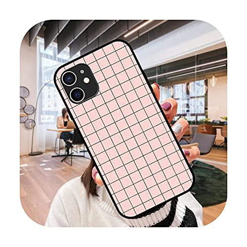 Funda del teléfono para el iPhone 12 11 mini pro max se XS XR X 4 5 6 6S 7 8 más negro cubierta coque 3D hoesjes lujo cubierta Grid-N5-iPhone 12 Pro