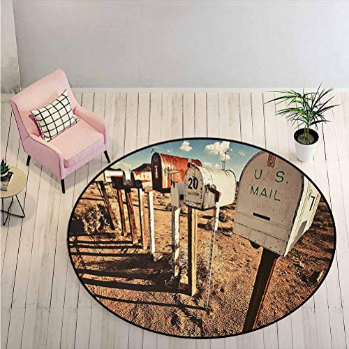 LiHomecurtain Carpet Old Mailboxes in West America Rural Rusty Landscape Grunge Countryside Creative Fashion Round Rug Bring Color and Comfort to The Room Brown Blue White Diameter - 1.3 Feet