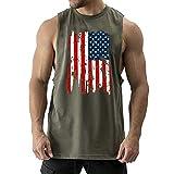 Cuifutang Men's Bodybuilding Cut Workout Tank Tops American Flag Muscle T-Shirt (X-Large, Green)