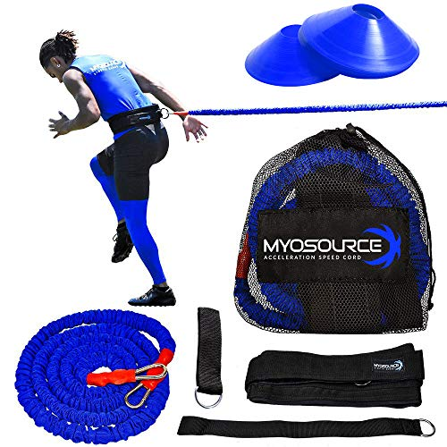 Acceleration Speed Cord Bungee Multi-Sport Resistance Training Kit - Improve Strength, Power, Agility, Vertical Jumping, Sprint Speed – 3 Waist Belt Sizes (S, M, L) Available - Kinetic Bands
