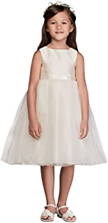 Flower Girl/Communion Dress with Tulle and Ribbon Waist Style OP218