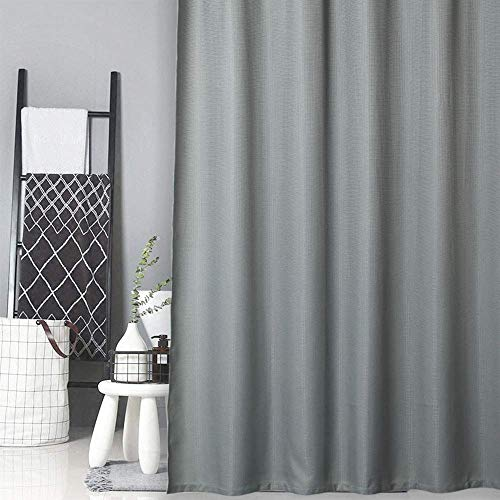 LinTimes Duschvorhang aus Stoff, Groß / Wasserdicht / Mehltau Resistent Waffel Badezimmer Vorhang-182x182cm, Grau, 100prozent Polyester