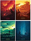 KINUNKN Star Wars The Force Awakens Poster Wall Decor 4 Full Size Posters Frameless for Men Home Office,11.4'×16.5'