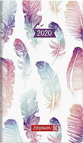 BRUNNEN 107561502 Taschenkalender/Wochen-Sichtkalender Modell 756 (2 Seiten = 1 Woche, 8,7 x 15,3 cm, Grafik-Einband Mohn, Kalendarium 2020, ohne Registerschnitt)