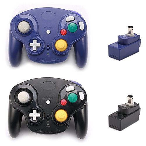 Poulep Classic Wireless Controller Gamepad with Receiver Adapter, Compatible with for Wii Gamecube NGC GC(Black and Purple)